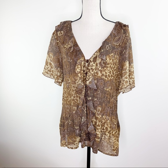 George Brown/Gold Lightweight Ruffle Top with Pleats and Flutter Sleeves